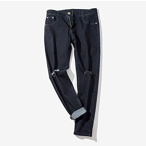 Lavoro Strappati Denim Da Jeans Autunno Retrò Hip In Sonnena Casual Pantaloni Uomo Nero Brandelli Trousers Inverno A Cotone hop E nzq77YgBw