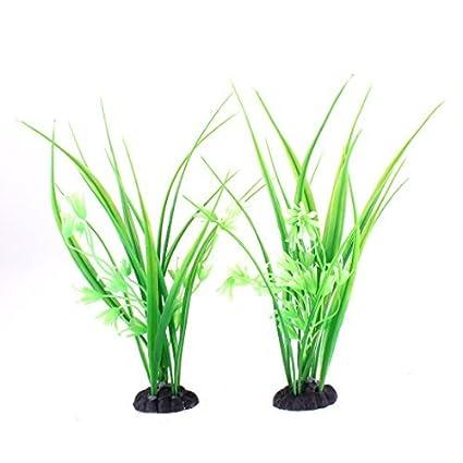 eDealMax acuario de plástico decoración de emulación de agua del acuario Plantas 2pcs Grass