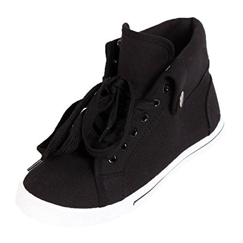Ameta Women's High Top Black Canvas Sneakers 10 B(M) US