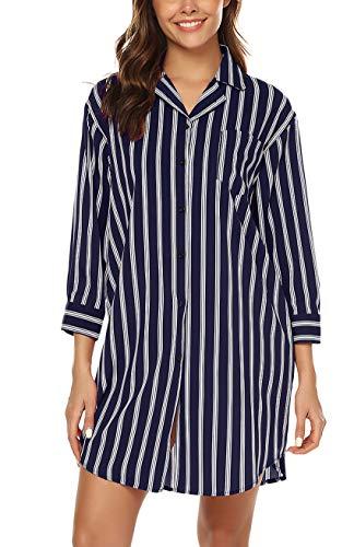 URRU Womens Sleep Shirt 3/4 Sleeve Button Down Nightshirts Sleepwear Navy Blue XXL
