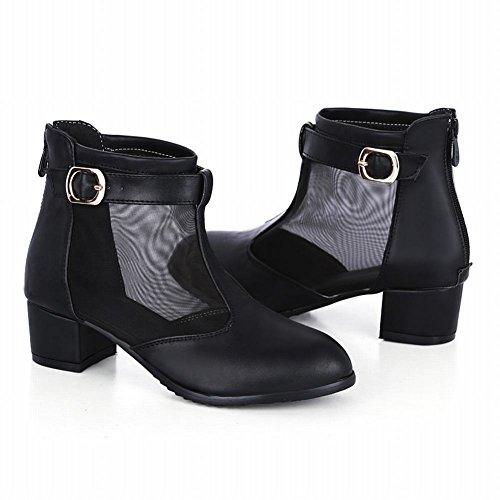 Carol Shoes Elegance Womens Fibbia Con Cerniera In Mesh Chic Medio Tacco Grosso Stivali Estivi Neri