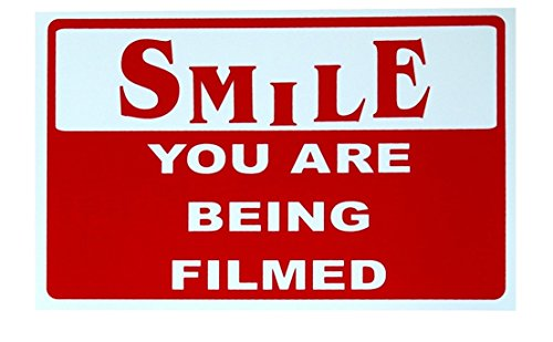 1-Pc Optimum Popular Smile You Are Being Filmed Sign CCTV Security 24Hr Watched Business Property Size 7