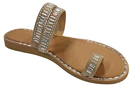 (Best Modern Fancy Bedazzled Faux Leather Beaded Gladiator Flipflop Sandal for Sale Women Big Girls Ladies (Taupe Size 6))
