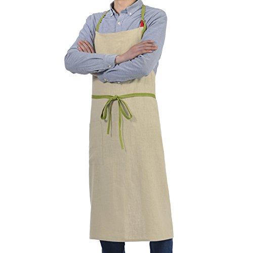 VEEYOO Cotton Linen Bib Apron Adjustable with Pocket Japanes