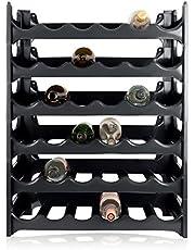 ARTECSIS Wijnrek Stapelbaar Kunststof Voor 36 Flessen, Stabiel Licht Flessenrek Voor Kelder, Gastronomie En Opslagruimte, Modulair Uitbreidbaar Fles En Wijnopslag, Antraciet