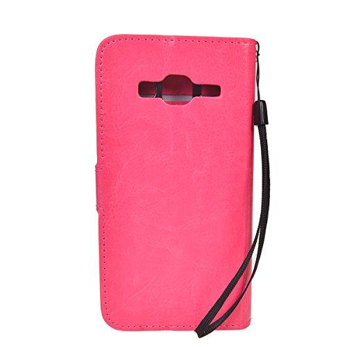 Galaxy J3 2016 Funda,COOLKE Retro PU Leather Wallet With Card Pouch Stand de protección Funda Carcasa Cuero Tapa Case Cover para Samsung Galaxy J3 2016 - Marrón Rosa