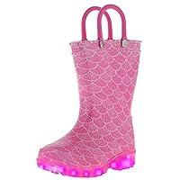 Capelli New York Toddler Girls Glitter Mermaid Light Up Rain Boot Pink Combo 8