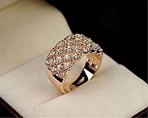UNKE Women Elegant Jewelry Exquisite Ring Rhinestone Wedding Bridal Rings by UNKE