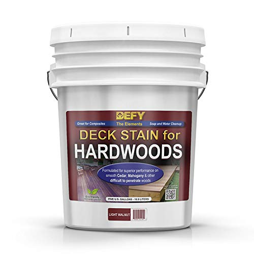 DEFY 5 Gallon Semi-Transparent Deck Stain for Hardwoods, Light Walnut