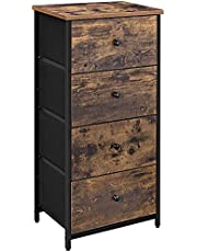 Vertical Dresser Tower, Industrial Drawer Dresser with 4 Drawers, Wooden Top and Front, Metal Frame, Fabric Closet Storage, Rustic Brown and Black