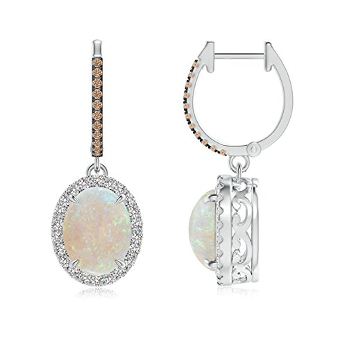 Platinum Oval Opal Dangle Earrings with Coffee and White Diamond (9x7mm Opal)