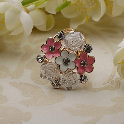 Triple Scarf Ring Silk Clip Buckle Charms Fashion Geometric Fancy Jewelry (Color - Pink)