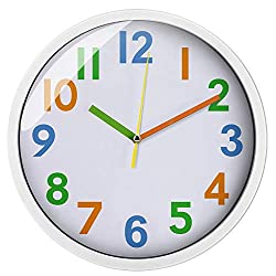 Colorful Kids Wall Clock Silent Non Ticking Quality Quartz Battery Operated Wall Clocks, Easy to Read,Large Decorative/Bedroom/School White Frame (12')