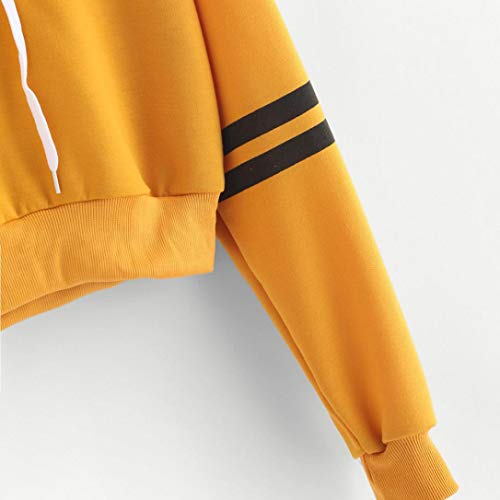 Rayé Rayé Crop Pull De à Femmes Cordon Recadrage Jaune Beikoard Varsity Longues Capuche Manches Pull Sweat Pull Shirt Pullover Les à YFHpqvBWU