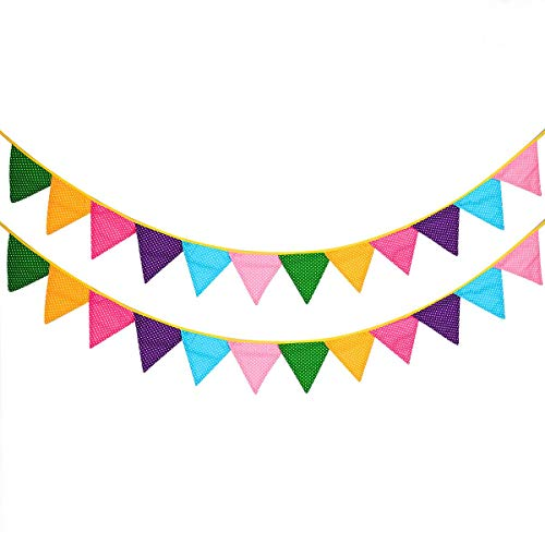 24 Pcs/18 Feet Fabric Banner Decorations,Pennant Flag,Triangle Bunting,Hanging Polka Dots Garland for Kids Room,Baby Shower,Birthday,Wedding, Spring Theme Party,Window Decorations(Multi-colored)