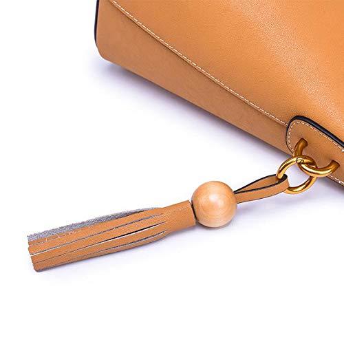 Cuero Capacidad Bandolera Colgado En Mujer Casual Brown Ancho Bolso De Gran Diagonal Hombro bolso Fvdwx7fzqx