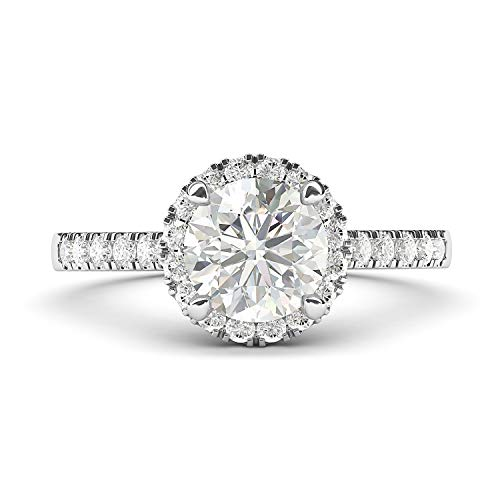 14k White Gold Classic Simulated Round Brilliant Cut Diamond Halo Engagement Ring with Side Stones - Brilliants Gold Ring White