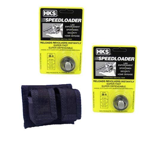 2-Pack 36-A Speed Loader for 357 Magnum Plus HKS Belt Pouch Holster for S&W 36, 37, 38, 40, 42, 49, 60, 340, 360/Charter Arms/Taurus 85, 605, 651, 851/Rossi 68/ Ruger SP101 (5-Shot) ()