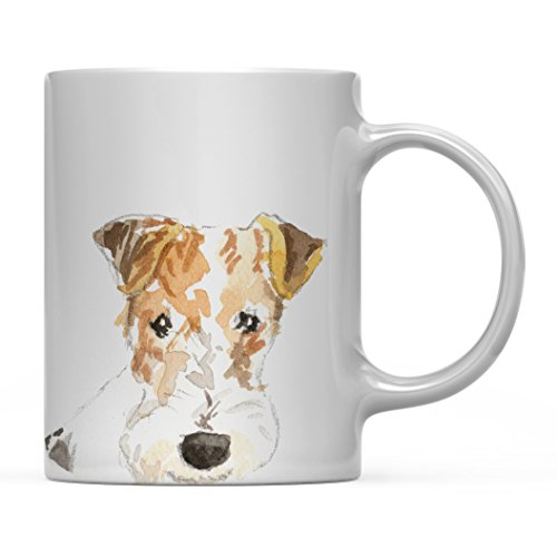 (Andaz Press 11oz. Dog Coffee Mug Gift, Wire Haired Fox Terrier Up Close, 1-Pack, Pet Animal Lover Birthday Christmas Gift for Her Family)