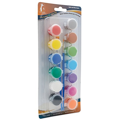 Koltose by Mash Acrylic Paint Pots Set, 12 Colored Paint Strip Plus 1 Glitter Paint Pot 1 Flat Brush and 1 Round Brush (13 Paints, 2 Brushes Total) Arts and - Strips Pot Glitter