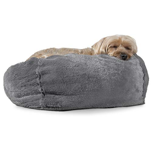 FurHaven Pet Dog Bed | Round Plush Ball Pet Bed for Dogs & Cats, Gray Mist, Small ()