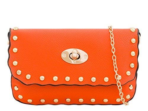 Twist Studded Faux Womens Handbags Leather Fashion Ladies Lock Shoulder Orange M10 qc7cHWtS