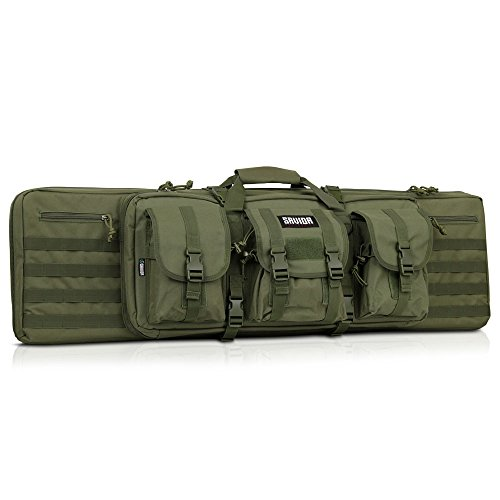 Savior Equipment American Classic Tactical Double Long Rifle Pistol Gun Bag Firearm Transportation Case w/Backpack - 55 Inch Olive Drab Green