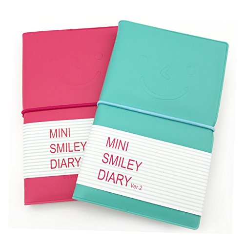 Leather Memo Box - Wenmeili Pocket Super Mini Smiley Diary Notebooks Memo Note Book 5x3 Inch PU Leather Case Color Random (Set of 2)