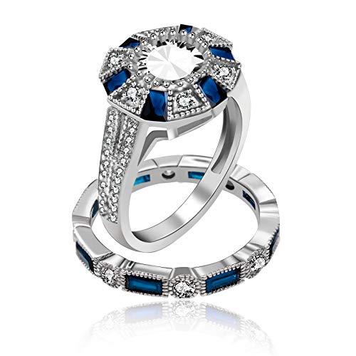 Uloveido Rhodium Plated Royal Blue White Cubic Zirconia Double Engagement Bands Wedding Rings Set for Women Girls (Size 8) RJ497