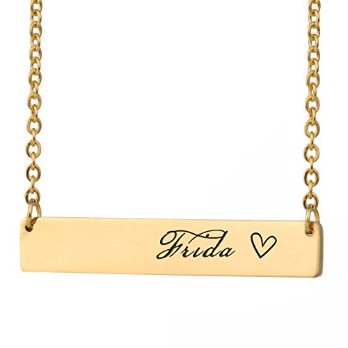 (HUAN XUN Frida Name Name Bar Necklace Silver Bar Initial Necklace Personal Jewelry Birthday Valentine Gift)