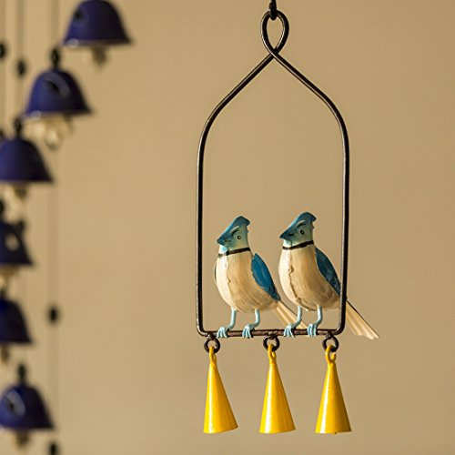 ExclusiveLane Blue Jays In The Wind' Hand-Painted Decorative Hanging Wind Chime In Metal -Decorative Hangings Terracotta Bells Wind Chimes For Balcony Lawn Garden Wall Hangings Door Wind Spinners ()