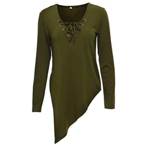 NiSeng Mujer Jerséy Suéter Cuello V Casual Tejido De Punto Irregular Sweater Pullover De Manga Larga Ejército