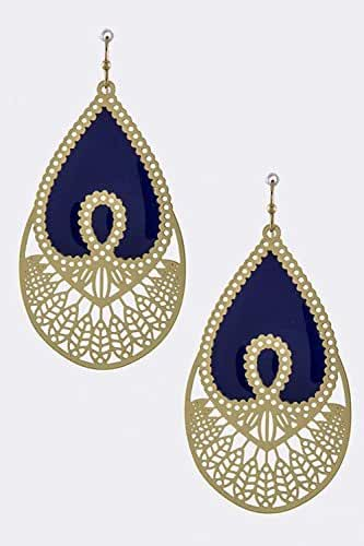 TRENDY FASHION JEWELRY LACQUERED ORNATE DROP EARRINGS BY FASHION DESTINATION