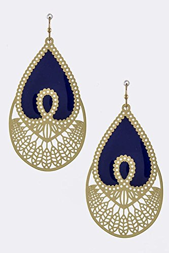 TRENDY FASHION JEWELRY LACQUERED ORNATE DROP EARRINGS BY FASHION DESTINATION (Navy Bamboo Rings)