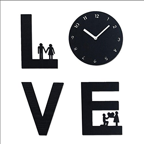 Wooden Wall Clock Hollow Out Love Sign 8 Inch Tuscan Style Round Wall Modern Black Atomic Analog Battery Operated Silent Large Decorative Home Living Room