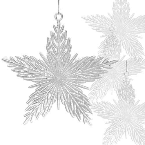(BANBERRY DESIGNS Star Christmas Ornaments - Pack of 12 Iridescent Glitter Filled Acrylic Star Shaped Snowflakes - 6