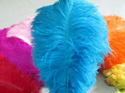 FidgetGear 美しい10/20/50/100個のナチュラルダチョウの羽14-16インチ/ 35-40 cm 青   B07S66Y4NN