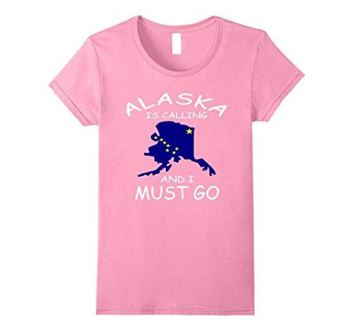 [Womens Alaska Is Calling& I must go Distressed Alaska State T-shirt XL Pink] (Alaska Womens Pink T-shirt)