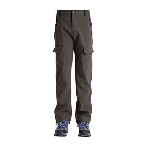 Clothin Mens Winter Pants - Hiking Cargo Sports Pants/ Fleece Lined/ Water-repellent(US L,Army Green)