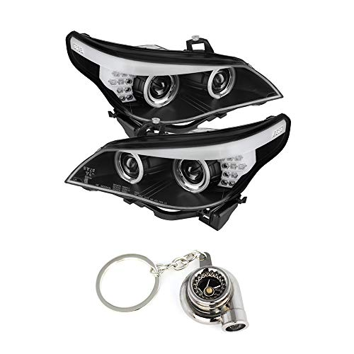 5 Series Projector Headlight - BMW E60 5-Series Projector Headlights Halogen Model Only (Not Compatible With Xenon/HID Model) CCFL Halo Black Housing With Clear Lens+Free Gift Key Chain Spinning Turbo Bearing