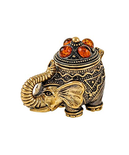 Brass and Amber Figurine (Elephant) Original Baltic Amber and Brass Souvenir Antique and Vintage Designs from Kaliningrad, Russia. Packed in a Beautiful Siberian Birch Bark Gift Box