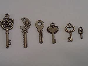 60pc Tiny Keys, Antique Bronze, 1/3 to 1 Inch Long