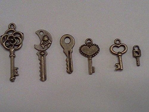 60pc Tiny Keys, Antique Bronze, 1/3 to 1 Inch (Tiny Charms)