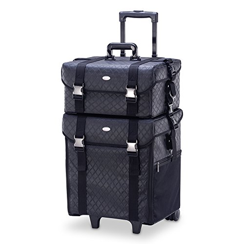MUA LIMITED 2 in 1 Pro Makeup Artist Case on Wheels, Multifunction Cosmetic Organizer with Removable Drawers, Beauty Trolley, Soft Case with PREMIUM Buckles, ULTIMATE Series - Black Diamond by MUA Limited (Image #1)