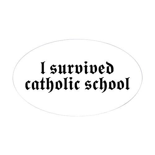 CafePress I Survived Catholic School Oval Sticker Oval Bumper Sticker, Euro Oval Car Decal]()
