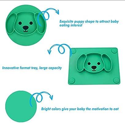 FDA-gepr/üft Baby Teller Rutschfeste Saugf/ütterungsplatte f/ür Kleinkinder Babys Kinder Tischset mit Saugn/äpfen BPA-frei Sp/ülmaschinen-und mikrowellengeeignet