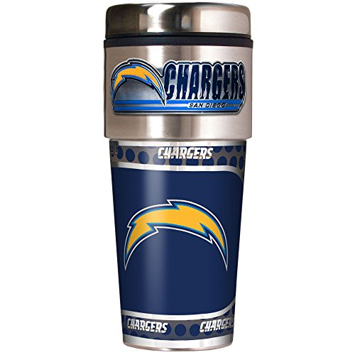 NFL San Diego Chargers Metallic Travel Tumbler, Stainless Steel and Black Vinyl, 16-Ounce