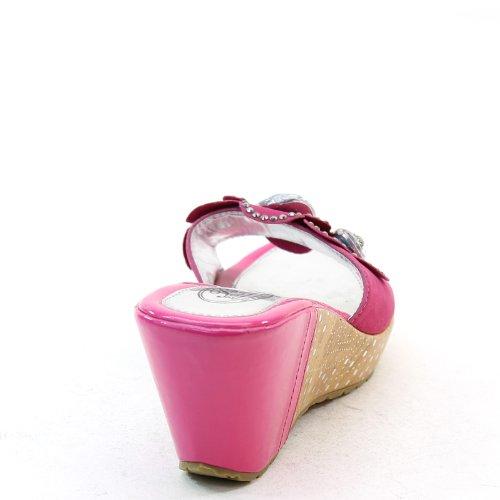 New Brieten Womens Flower Studded Platform Wedge Comfort Slide Sandals Fuchsia w51NuIG20