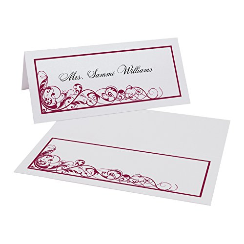 Scribble Vintage Swirl Place Cards, Pearl White, Burgundy, Set of 375 by Documents and Designs