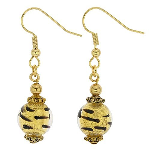 GlassOfVenice Murano Glass Antico Tesoro Balls Earrings - Spotted Gold by GlassOfVenice